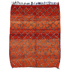 mid century modern berber moroccan rug with lattice design for