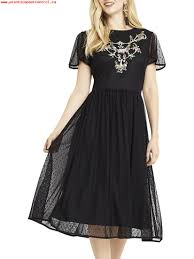 women oasis embroidered flute sleeve dress black 15856031