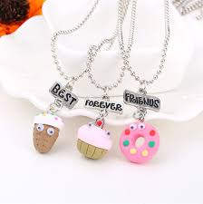 fimo ice cream best friends f pendant necklace for 3
