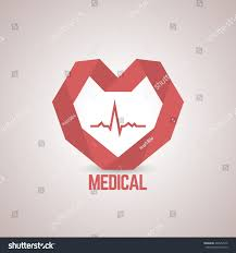 Medical Center Logo Design Logo Design Template Red Paper Heart Stock Vector Royalty