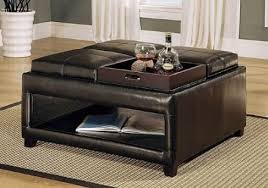 Great Open Bottom Storage Ottoman Coffee Table With 4 Flip Trays
