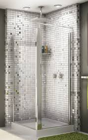 striking small bathroom designs using silver grey tile backsplash and rectangular glass shower doors also with rectangle silver shower heads and small