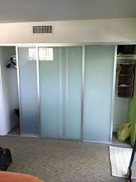 3 panel sliding mirror closet doors awesome 3 panel sliding closet door with frosted glass yelp