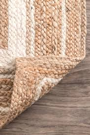 jute braided border area rug off white 5 x8 oval