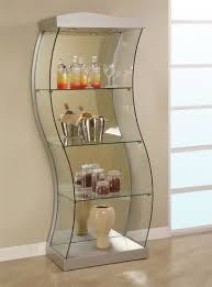 Metal Glass Display Cabinet Furniture Brown Marble Tile Floor Design With Small Glass Display