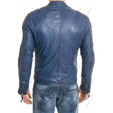 men blue leather quilted jacket men blue leather quilted jacket