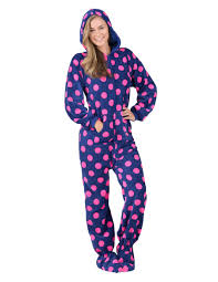 plus size footed pajamas navy pink polka hoodie one piece adult hooded footed pajamas one
