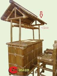 3 piece set tiki bar 3 pcs bamboo bar includes roof panels glassware rack holder 2 sliding drawers 1 fixed shelf and 2 bar stools