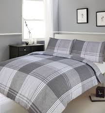 grey slate colour bedding duvet quilt cover reversible check contemporary design
