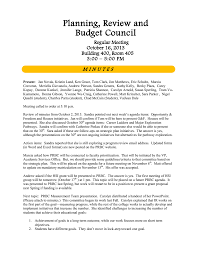 Planning Review And Budget Council M I N U T E S