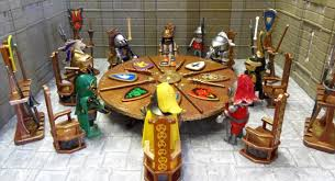 i thought king arthur s round table would make a great setting to show of these figures so i ve built a large round table and customised it with playmobil
