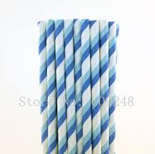 Light Blue Straws Us 8 9 11 Off 100pcs Royal Blue Light Blue Striped Paper Straws Baby Shower Birthday Party Drinking Straws Cake Pop Sticks Mason Jar Straws In