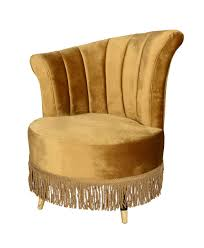 Art Deco Samt Sessel Gold Cocktailsessel Mit Fransen