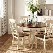 antique white dining room set. 5-Piece Round Antique White And Warm Cherry Dining Table Set, Two-Tone Room Set