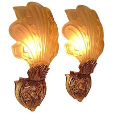 art deco wall sconces. Late 1920s-Early 1930s Art Deco Wall Sconces For Sale G