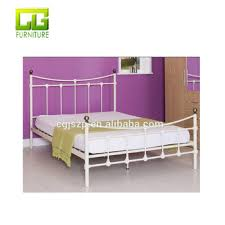 Queen Size Golden Ball Metal Black Iron Bed Frame With Wooden Slats ...