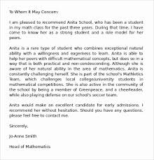 College Recommendation Sample College Recommendation Letter Template Stanley Tretick