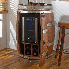 Reversible reclaimed wine barrel Tempered Glass Cell Code Reclaimed Wine Barrel With Bottle Wine Refrigerator Wine Enthusiast