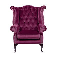 purple velvet queen anne handcrafted in the uk