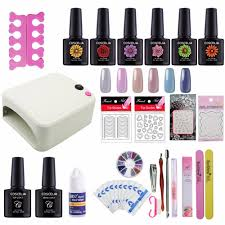 nail art pro diy full set soak off uv gel polish manicure set 36w curing lamp kit any base top set nail gel nail tools nail art gel nail art s from