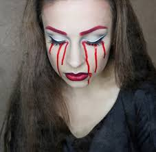 simple easy halloween makeup ideas for women bloody tears makeup