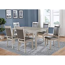 roundhill furniture t216 c215 c215 c215 avignor 7 piece contemporary simplicity dining set with 6 chairs silver