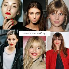 the french look makeup is very natural and serves to enhance rather than modify features skin looks clean and fresh the red lip is a major