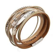 womens leather cuff bracelets feather wrap crystal bangle handmade bohemian gift
