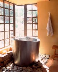 Bathroom:Bathroom Design With Round Brown Modern Japanese Soaking Tub Feat  Brown Metal Faucet Near