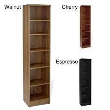 12 inch deep metal shelving unit new narrow 5 shelf bookcase espresso