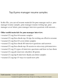 Top 8 pmo manager resume samples In this file, you can ref resume materials  for ...