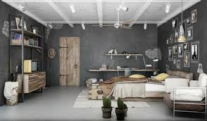 Apartment:Industrial Bedroom Apartment Design With Dark Gray Wall Also  Rustic Iron Racks Industrial Apartments