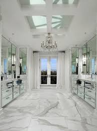 bathroom interior marble bathroom chandelier mirrored vanity cabis white carrara marble floor and