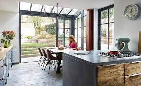 industrial style kitchen attached to edwardian period home