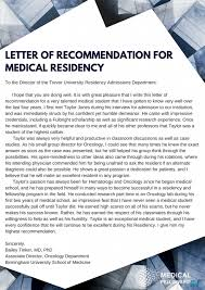 Effective Letter Of Recommendation For Medical Residency