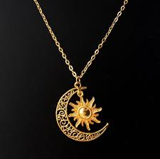 gold silver plated sun moon necklace
