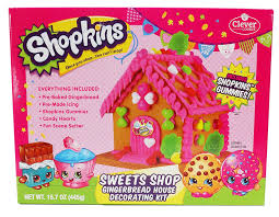 Premade Gingerbread Houses Amazoncom Shopkins Sweets Shop Gingerbread House Decorating Kit