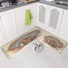 2 piece non slip kitchen mat rug set doormat 3d print portrait with native american chef feathers bohemian bedroom living room coffee table household skin