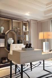 luxury home office desks. Office Bookshelf, Striped Wallpaper, And Modern Desk Reflect Personal Style. Luxury Home Desks