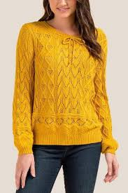 francesca's Harriet Pointelle Balloon Sleeve <b>Sweater</b> - Mustard ...