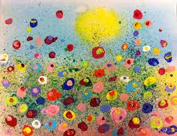 Fun Splatter Floral Paintings - Kid's Art Class