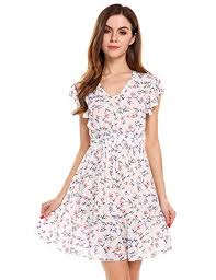 Meaneor Womens Floral Ruffle Sleeve Casual V Neck Summer
