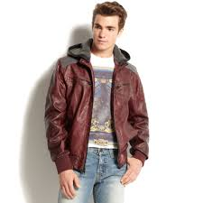 guess hooded faux leather er jacket in red for men lyst