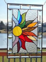 leaded glass design rainbow stained glass panel window hanging flames by leaded glass design inc