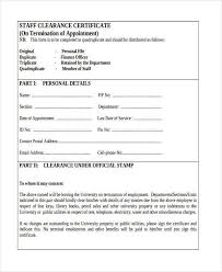 Clearance Certificate Sample 17 Employee Clearance Form Formats 20046600037 Employee