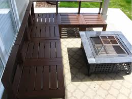 outdoor sectional metal. Furniture. Dark Brown Varnished Pallet Chair With Square Black Metal On Stone Floor. Outdoor Sectional E