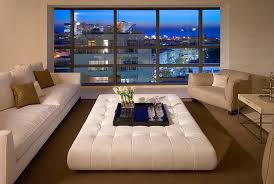 Oversized Ottoman  Living Room Contemporary With Area Rug Decorative Pillows Leather Coffee  Table