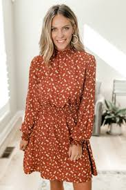 Everly Mock Neck Smocked Floral Dress Rust Multi
