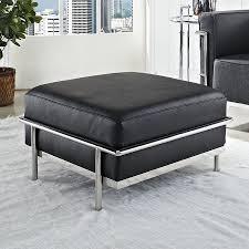 Modway Charles Grande Modern Black Genuine Leather Ottoman at Lowes.com