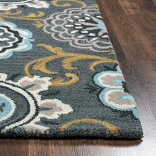 rizzy home valintino grey blue fl medallion hand tufted wool 8
